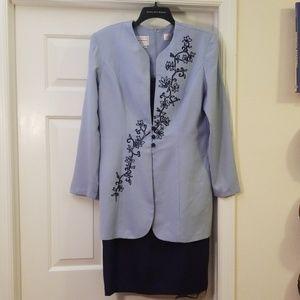 Navy Blue Dress with Light Blue Jacket